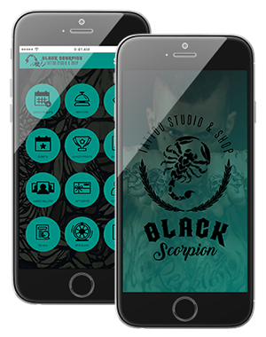 Photo of Complete Tattoo Custom Branded App Interface on IPhone